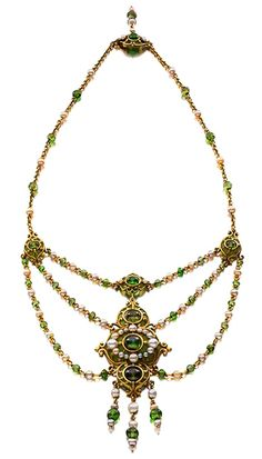 Pearl, demantoid, plique a jour Necklace by Marcus & Co, ca 1900, collection of Lee Siegelson, New York.