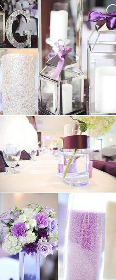 Tischdeko zur Hochzeit in Flieder
