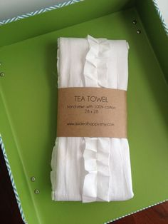 White Ruffle Tea Towel by asideofhappy on Etsy, $18.00