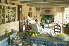 Restored Farmhouse In France - Old World Charm - Marston Luce Design - Veranda. So Welcoming and Beautiful. French Country Living Room, Country Farmhouse Decor, French Country Style, French Farmhouse, Country Kitchens, French Country Fireplace, French Country Interiors, French Kitchens, Country Blue