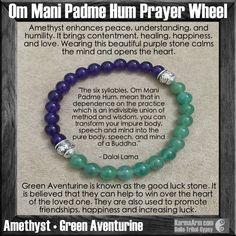 Om Mani Padme Hum Prayer Wheel: Amethyst • Green Aventurine Yoga Mala Bead…