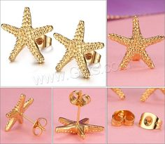 Titanium Steel Earrings Starfish gold color plated 15x15mm - Milky Way Jewelry