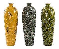 Set de 3 jarrones de cerámica II - verde, amarillo y gris