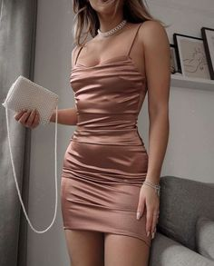 Homecoming Dresses Tight, Pretty Prom Dresses, Prom Outfits, Mode Outfits, Tight Dresses, Party Dress Outfits, Satin Dresses, Night Out Dresses, Classy Party Outfit