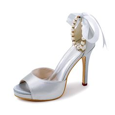 Creativesugar Pearl beads ankle strap ribbon bow open toe separate pumps  lady satin evening dress shoes bridal wedding party-in Women s Pumps from  Shoes on ... cc61693030a7