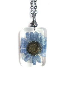 Real Daisy Necklace  Real Blue Daisy Encased in by ScrappinCop, $10.00