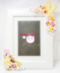 Sweet pastry polymer clay decoden white wooden 3.5' x 5.5' picture frame by pinkpandacraftshop, $79.00