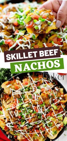 One great way that brings any occasion fun is to add this easy beef Nachos recipe for dinners with fresh vegetables on top! This dish is bound to make anyone's day just a little brighter. These loaded cheese nachos are perfect for your family! Raw Food Recipes, Appetizer Recipes, Beef Recipes, Mexican Food Recipes, Dinner Recipes, Ethnic Recipes, Skillet Recipes, Skillet Meals, Mexican Dishes