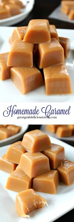 This homemade caramel is super delish! When is the last time you made some homemade caramel? This is absolutely so tasty and not very hard to make. This is my go to recipe for delicious tasting caramel. Homemade Caramel Recipes, Homemade Candies, Fudge Recipes, Candy Recipes, Sweet Recipes, Baking Recipes, Dessert Recipes, Homemade Caramels, Snacks Homemade
