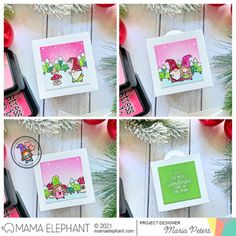mama elephant | design blog: STAMP HIGHLIGHT: Oh Gnomie Tree Girl Gnome, Mama Elephant, Snow Angels, Elephant Design, Shaker Cards, Little Boxes, Wonderful Time, Pink And Green, Highlight
