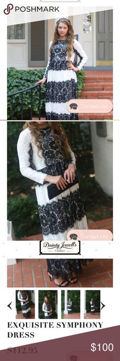 🌟FLASH SALE🌟Dainty Jewells Dress Never worn!!!! Beautiful Dainty Jewells Dress! The lace is so elegant! This would be a stunning addition to your closet! Selling for a friend! She paid around $120 for this after shipping etc etc. This is listed for $112.95 on Dainty Jewells website. This is a Size L. Ankle length (I can get exact length if requested) long sleeves. The colors are black and off white/cream! NWOT! Feel free to ask questions. Thanks for looking! Dainty Jewels  Dresses Maxi