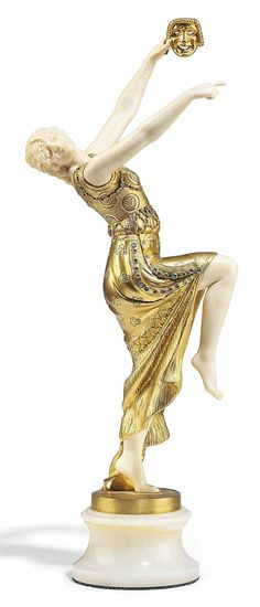 A FRENCH IVORY AND BLUE-PAINTED GILT-BRONZE FIGURE OF A DANCER - CAST FROM THE MODEL BY JOE DESCOMPS, FIRST QUARTER 20TH CENTURY.