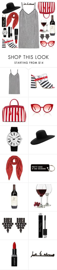 """Striped Picnic"" by annelisamilano ❤ liked on Polyvore featuring Marco de Vincenzo, Pollini, Bally, Spektre, Rosendahl, Maison Michel, Forzieri, Various Projects, Libbey and Yves Saint Laurent"