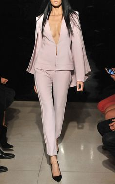 Cape connected to a structured blazer, soft color, hook front. All awesomeness. An upcycle or makeover just waiting to happen. Brandon Maxwell Spring Summer 2016 Look 6 on Moda Operandi