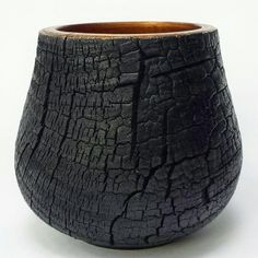 "81 Likes, 4 Comments - Bill Walsh (@thebowlcatch) on Instagram: ""Charred osage orange vessel. Black and copper. ○ ○ ○ ○ #turnandburn #bowlturning #process #pottery…"""