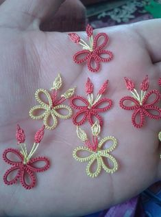 This Pin was discovered by Has Crochet Unique, Shuttle Tatting Patterns, Macrame Owl, Tatting Earrings, Kids Frocks, Tatting Lace, Embroidery Fabric, Needle Lace, Thread Work