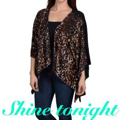 Batwing sleeve shrug with front animal print Let's just rock the party with all the glitters . Beautiful with 94%closet 6%spandex . Sweaters Shrugs & Ponchos