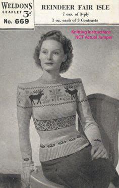 Knitting Pattern Reindeer fair isle  jumper 40s Vintage