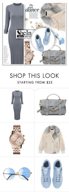 """Grey Long Sleeve Dress SheIn"" by martinikiss ❤ liked on Polyvore featuring Proenza Schouler, Michael Kors, TIBI, FingerPrint Jewellry, Anja, adidas, By Terry, contest, grey and shein"