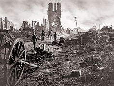 British troops passing through the ruins of Ypres, West Flanders, Belgium, September 29, 1918.
