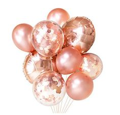 Rose Gold Balloons ( Balloon Bouquet Bundle with Confetti Balloons ) - Copper Fall / Autumn Wedding Decor Ideas Ballon iDeen 🎈 Gold Confetti Balloons, Glitter Balloons, Latex Balloons, Mylar Balloons, Wedding Balloons, Birthday Balloons, Birthday Backdrop, Feuille D'or Rose, Pink Und Gold