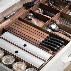 Hafele Fineline Kitchen and Plate Organizer - Knife Holder is available in Walnut or Birch to match the rest of the Fineline collection.