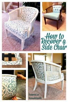 Cane Chair Reupholster DIY - black paint and something more akin to muslin. Redo Furniture, Home Furniture, Refinishing Furniture, Furniture Upholstery, Repurposed Furniture, Reupholster Furniture, Furniture Rehab, Side Chairs, Furniture Makeover