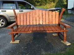 Bench, pine, branches, logs, tenon tool, homemade