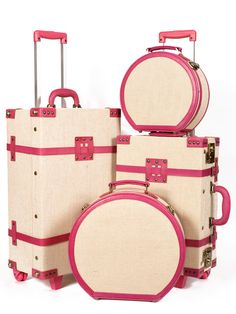 Omg I need this in my life! The Editor Series - Vintage SteamLine Luggage - Stowaway Trunk, Carry On Case & Hat Boxes Cute Luggage, Vintage Luggage, Luggage Sets, Travel Luggage, Travel Bags, Pink Luggage, Pink Suitcase, Suitcase Decor, Cabin Suitcase