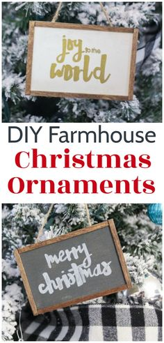 Love these DIY Farmhouse Christmas Ornaments! They are super quick and easy to make. You can customize whem with any saying or name you want or use the free printable patterns to quickly copy the samples. Farmhouse Christmas Ornaments Diy, Christmas Garden Decorations, Painted Christmas Ornaments, Christmas Signs, Handmade Christmas, Christmas Holidays, Christmas Crafts, Christmas Ideas, Christmas Tree