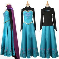HOT Disney Frozen Anna Princess Costume Long Sleeve Formal Cosplay Dress Adult