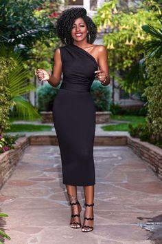 Women one shoulder dress 2020 womens OL Dress Elegant Bodycon Party Knee Length Dresses Plus Size Vestido Mode Outfits, Dress Outfits, Fashion Dresses, Dress Up, Bodycon Dress, Women's Fashion, Fashion Stores, Midi Dresses, Dress Clothes