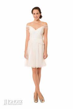 Bari Jay look book - short white bridesmaid dress