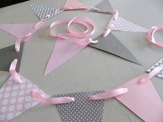Paper Garland/ Pink and Gray Chevron Stripes/ Polka dot and Chevron/ Room Decor/ Baby Shower Decor/ Birthday Decor/ Photo Prop on Etsy, $9.75