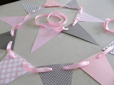 Paper Garland/ Pink and Gray Chevron Stripes/ Polka dot and Chevron/ Room Decor/ Baby Shower Decor/ Birthday Decor/ Photo Prop on Etsy, $9.75