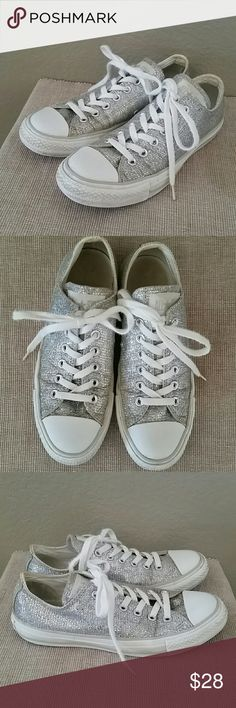 Silver sparkle Converse sneakers size 8 Converse Chuck Taylor all star sneakers, low, pre-owned-see pics for wear-could be cleaned up, size 8, silver sparkle Converse Shoes Sneakers