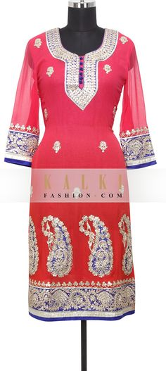 Buy Online from the link below. We ship worldwide (Free Shipping over US$100) http://www.kalkifashion.com/red-georgette-kurti-in-gotta-patti-only-on-kalki.html