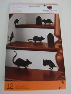 Decorate a staircase with Martha Steward decal silhouette rats for Halloween