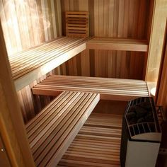 Besides offering relaxation, a sauna room can be a vigorous way to feel the winter pass more quickly.Electric and wood heaters are more likely to be used in a wet sauna room, in which rocks are hea. Diy Sauna, Infrarot Sauna, Sauna Heater, Modern Saunas, Home Sauna Kit, Sauna House, Sauna Steam Room, Sauna Room, Finland