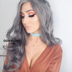 dark gray long wavy synthetic wig