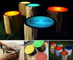 There's nothing we love more than an outdoor cookout on a summer night. These DIY glow-in-the-dark log campfire stools are perfect out-of -this-world seating arrangement .  #diy #campfire #glowinglog