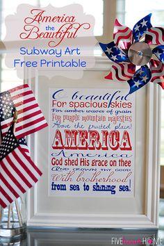 America the Beautiful Subway Art ~ Free Printable! | {Five Heart Home}