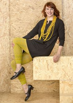 """If you want to add that bit extra to your outfit, try our patterned """"Murano"""" leggings. Exciting horizontal and diagonal angled lines with striking, contrasting colours."""