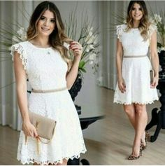 Charming White Prom Dress, Cute Round Neck Prom by RosyProm on Zibbet Short Lace Dress, Short Dresses, Summer Dresses, Lace Homecoming Dresses, Wedding Dresses, Mode Style, Lace Shorts, Marie, Casual Outfits