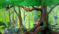 Rainforest Mural by ~deviantART Rainforest Project, Rainforest Theme, Rainforest Animals, Rainforest Activities, Art Mural, Mural Painting, Painting For Kids, Wall Murals, Forest Painting