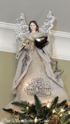 Christmas Home Tour {Downstairs} – Our Southern Home – Decorating Foyer Christmas Tree Tops, Angel Christmas Tree Topper, Christmas Makes, Vintage Christmas Ornaments, Christmas Angels, Christmas Home, Christmas Crafts, Christmas Ideas, Christmas Stage