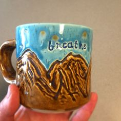 Finished piece of the mountain mug.  Will get shop update in a week or so!  Yellowstone trio coming up. Hopefully I can get pieces listed before then
