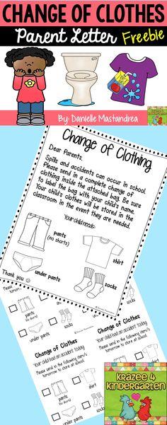 Change of Clothing Parent Letter FREEBIE