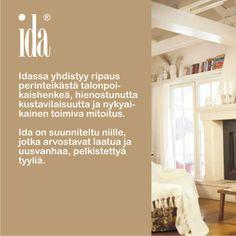 Ida. Persoonallisuutta kalusteisiin tuovat kauniit yksityiskohdat: mm. uurrekoristelu eli rihlaus ja fasettihiotut lasiovet. Laulumaa Huonekalut Home Decor, Decoration Home, Room Decor, Home Interior Design, Home Decoration, Interior Design