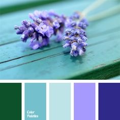 The combination of lavender shades of varying intensity and neutral green. This palette can be used for exterior of cottages or summer kitchens, gazebos, as well as in dining decoration, e.g. 5 o'clock tea in the open air.